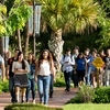 UTRGV students walk on campus for the first day of classes