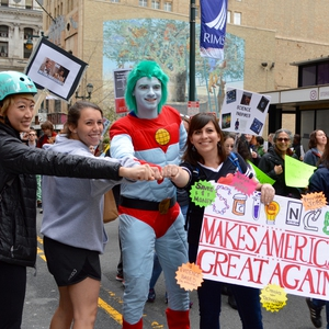 Captain Planet joins The GREEN Program Team for the Philadelphia Science March