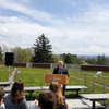 Penn State President Eric Barron spoke at the dedication of the HUB Green Roof, 2014 class gift, on April 21.