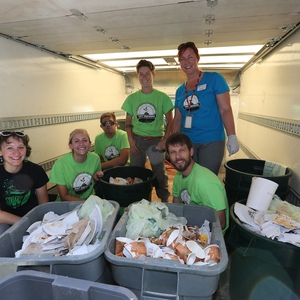 2015 SSC-Funded Sustainability Interns with compostable waste from campus wide event