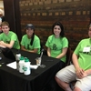 Students from an environmental studies class and the Associated Students of Madison conduct outreach in a student union about receipts on campus.