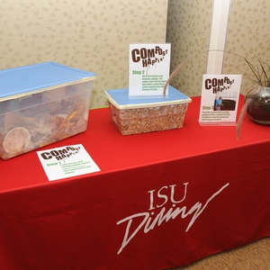Implementing pre and post consumer composting, local food, recycling and trayless programs within ISU dining at Iowa State University
