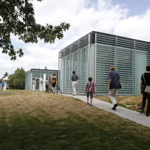 Students use the lobby and classroom spaces of SSC-supported LEED Platinum Galileo's Pavilion.