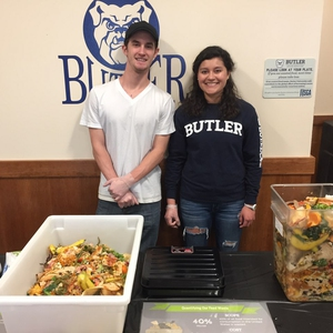 Students composting at dining hall