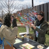 A student stopping by UConn's Soil and Water Conservation Society's Earth Day Spring Fling table. This year, each student that visited their table tied a ribbon to a tree with a few words about what they love about the environment.