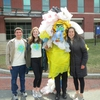A few of UConn's Office of Environmental Policy sustainability interns posing with a trash monster at the Earth Day Spring Fling event. The trash monster represented the Town of Mansfield's campaign to ban plastic bags. Interns pictured (from left to right) are Ben Breslau, student co-chair of UConn's Environmental Metanoia and member of the ECOalition student group, Christen Bellucci, President of the EcoHusky student group, and Caroline Anastasia.