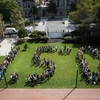 Barnard community members gathered on Futter Field to spell out 1.5° C — the global average temperature increase that scientists agree humans should strive to remain below in order to prevent disastrous climate change before heading to the 2019 NYC Climate Strike