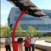A group of NC State University students powered an effort to add a solar energy charging station just outside the university's LEED-certified James B. Hunt Jr. Library. With a 1,500-watt solar array atop a recycled steel base, the 16-foot solar sculpture offers outlets from which users can power laptops, phones and other devices. The student-led effort took a year of fundraising, planning and working toward the goal of increasing student interest in clean energy.