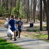 Over 115 volunteers worked together to beautify the woods and creek head surrounding the Reynolda Village trail on the WFU campus.