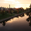 The sun rises over the University of Ottawa's campus and the Rideau Canal