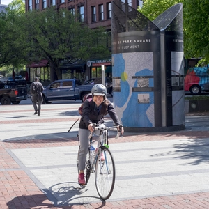 Emerson's Sustainability Coordinator biking to work