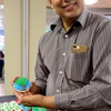 Enjoying the Earth Day themed cookies at the IU South Bend Reception & Award Ceremony (made to order at a local bakery)