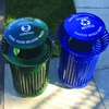 Exterior bin stations now only have a blue recycle and green compost bin