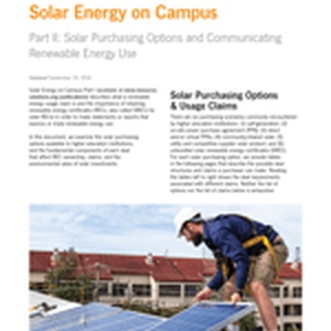 Solar Energy on Campus (Part II: Solar Purchasing Options and Communicating Renewable Energy Use)