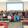 Students at the 2016 conference with speakers and Morris Chancellor Johnson