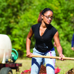 Working with vegetables, mulch and compost at the Guilford College Farm