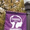 "Learning outcomes and a corresponding assessment were developed for undergraduate students. All areas of the university were encouraged to choose to participate. ""Choose"" is the theme of the campus environmental stewardship effort, as pictured above on campus flags."