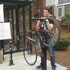 Tufts Bikes and TCU Senate unveil the new bicycle Fix It station at the Mayer Campus Center