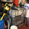 This is the tote that current interns retrofitted to be used for our acid esterification reaction, which reduces free fatty acid content in the waste cooking oil and increases efficiency.