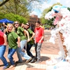 """Plasti-Saurus"" was created by the NC State Stewards from a week's worth of plastic bags recycled at one campus convenience store. The display was transported to many events during Earth Month as a conversation starter during outreach efforts educating the campus community about the impacts of plastic bags."