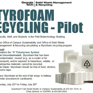 Piloting Styrofoam Recycling in Research Facilities at Georgia Institute of Technology