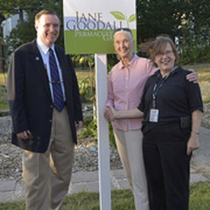 Jane Goodall Dedicating the WCSU Permaculture Garden with Dr. John Clark, President WCSU