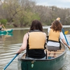 "JMU students take part in a canoeing activity through the University Recreation Department (UREC) Adventure Program, which teaches and follows ""Leave No Trace"" principles."