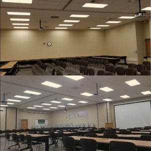 LED Solution before and after in Executive Training Room