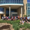 Austin College volunteers have spent their morning installing over 500 native Texas Plants around the LEED Gold Certified science building