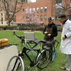 Doctor gets his free bike check-up at the Boston University Medical Campus Earth Day Festival, courtesy of Urban Adventours