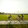 Colorado State students pedal across the great green on campus