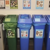Interior bin colors, labels and signage are all now standardized across campus