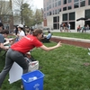 Earth Day activities included a recycling bin toss challenge