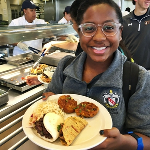 Student enjoys a plate filled with plant-based proteins at Rice University