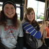 This team of Transylvania University students got points for riding Lexington's trolley bus service instead of driving.