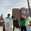 CMU's Housing Sustainability Assistants conducting a trash audit as part of the compost pilot