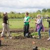 Marion Polk Food Share Youth Farm Staff Instruct Students Planting at the Youth Farm