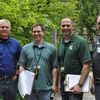 Michigan State University employees pose for a photo following a Treasure Hunt at Kedzie Hall.