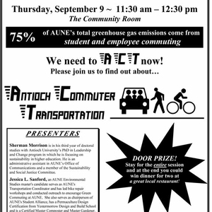 Antioch Commuter Transportation Initiative: Tackling AUNE's Transportation Challenge by Supporting Money-Saving, Fun, and Healthy Commuter Alternatives