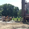 Geothermal bore field installation on the Bald Spot at Carleton College