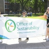 The UAlberta cheer team hit the pavement to promote Environment Week.