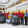 UCalgary's green cleaning program has been recognized by the leading trade association for the cleaning industry worldwide. From left: Patrick Okafor, manager, caretaking; Chin Nay Suy, caretaking staff; Boguslawa Rebosz, caretaking staff; Mike Kassam, associate director, caretaking; Tsering Palmo, caretaking staff; Cui Lan Chen, caretaking staff; Carlos Salinas, caretaking staff; and Nduka Ezechukwu, caretaking supervisor.