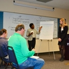 Virginia Tech students Tyneshia Griffin and Virginia Pellington pitch their ideas to the Sustainability Boot Camp's Founding Partner, Trane, during an on-site Think Tank Challenge in Ashland, VA.